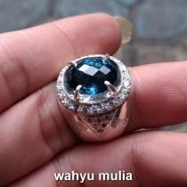 batu cincin london blue topas asli