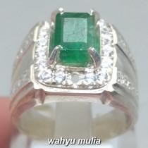 Cincin Batu Zamrud hijau natural Emerald Beryl bentuk kotak asli harga murah colombia_4