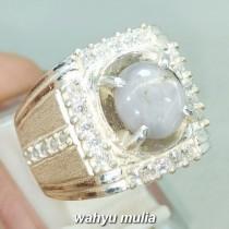 gambar Batu Cincin Permata White Star Safire ceylon Srilangka Asli natural bersertifikat bagus harga khasiat ciri blue _2