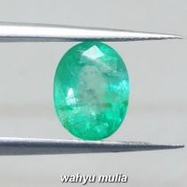 gambar Batu Permata Zamrud Kolombia Asli oval ciri harga khasiat hijau tua bening kristal_4