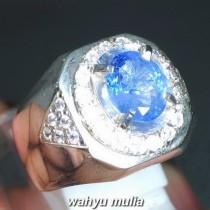 Cincin Batu Permata Natural Blue Safir Srilangka Ceylon Asli harga khasiat ciri foto bersertifikat memo_1