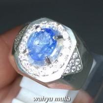Cincin Batu Permata Natural Blue Safir Srilangka Ceylon Asli harga khasiat ciri foto bersertifikat memo_3