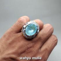 gambar jual Batu Cincin Permata Santamaria Blue Aquamarine Besar asli bersertifikat berkhodam khasiat ciri harga jenis hijau kuning putih bening kalimantan_4