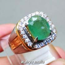 image Cincin Batu Permata Natural Zamrud Emerald Beryl oval asli bersertifikat ring perak colombia bagus berkualitas _2