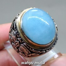 image jual Cincin Batu Akik Aquamarine Biru Santamaria Big Size asli bersertifikat srilangka memo bening putih kalimantan manfaat zodiak jenis asal_2