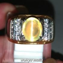 Jual Batu Cincin Natural Opal Cat eye Mata Kucing Kuning asli bersertifikat berkhodam bagus pria wanita asal bongkahan cara_6