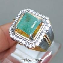 Jual Cincin Batu Mulia Zamrud Emerald Beryl Kotak asli bersertifikat pria wanita bagus berkualitas_1