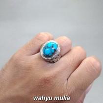 foto Cincin Batu Akik Phirus Persia Biru asli bersertifikat mesir naisyabur urat merah ceplok_4