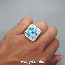 foto Cincin Batu Swiss Blue Topaz Kotak asli bersertifikat pria wanita tua muda khasiat harga_4