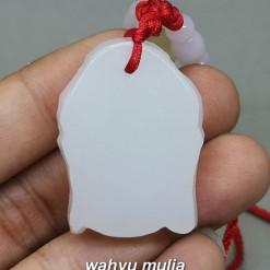 image Liontin Batu Giok Salju tali merah kepala Budha Asli bersertifikat berkhasiat penyembuhan kegunaan bahan aceh_3