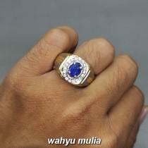 Cincin Batu Akik Blue Safir Ceylon Asli bersertifikat berkhasiat memo ciri harga_5