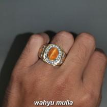 jual Cincin Batu Akik Cat Eye Opal Mata Kucing Asli berertifikat mdu kuning orange_4