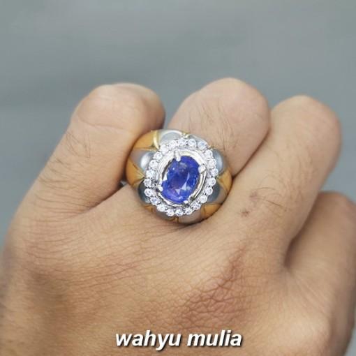 Cincin Batu Natural Blue Safir Srilangka Asli natural original bersertifikat bagus pria wanita berkhasiat_4