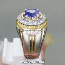 Cincin Batu Natural Blue Safir Srilangka kotak Asli bersertifikat memo ciri harga manfaat bagus_3