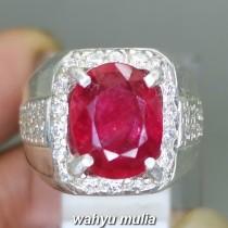 Batu Cincin Ruby Merah Delima Pigeon Blood Asli ring perak pria wanita