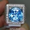 Batu Cincin Topaz Blue Swiss Octagon Ring Perak natural bersertifikat