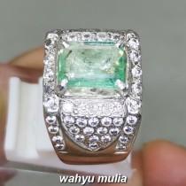 Cincin Batu Natural Emerald Beryl Zamrud Kolombia Ring Perak asli pria wanita