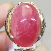 Cincin Batu Ruby Pink Merah Muda Besar Asli afrika