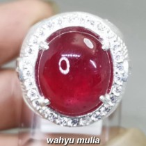 Batu Ruby Merah Delima Pigeon Blood Ring perak Asli bagus bersertifikat
