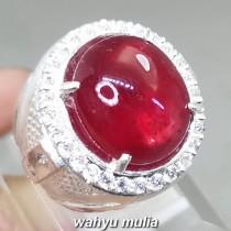 Batu Ruby Merah Delima Pigeon Blood Ring perak Asli birma mozambik