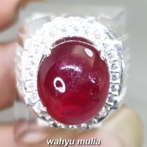 Cincin Batu Ruby Merah Delima Natural Asli mozambik