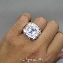 Cincin Batu Topaz Putih Bening Kristal Ring Perak Asli pria wanita