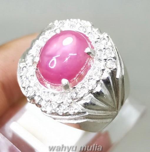 Natural Batu Ruby Pink Ring Perak Asli cincin cewek cowok