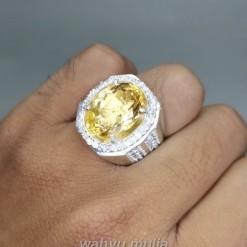 Batu Akik Kinyang Emas Golden Citrine Ring Perak asli dijual