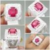Batu Cincin Asli Natural Ruby Merah Kotak Ring Perak_5