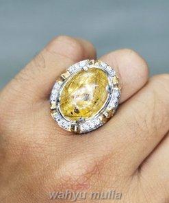 Cincin Batu Akik Kecubung Rambut Emas Bagus_4